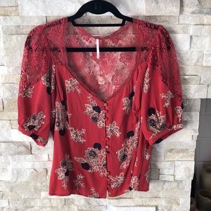 Free People Bohemian Puff Sleeve Lace Top